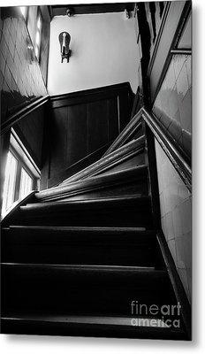 Stairway In Amsterdam Bw Metal Print by RicardMN Photography