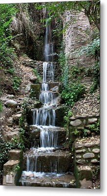 Stairway Waterfall Metal Print by Lorraine Devon Wilke