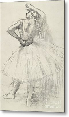 Standing Dancer, Right Arm Raised Metal Print by Edgar Degas