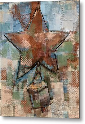 Metal Print featuring the mixed media Star Bell by Carrie Joy Byrnes