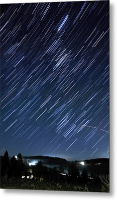 Star Trails Long Exposure At Night Metal Print by Evan Sharboneau
