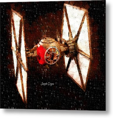 Star Wars First Order Tie Fighter  - Wax Style -  - Da Metal Print