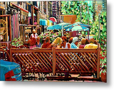 Starbucks Cafe On Monkland Montreal Cityscene Metal Print by Carole Spandau