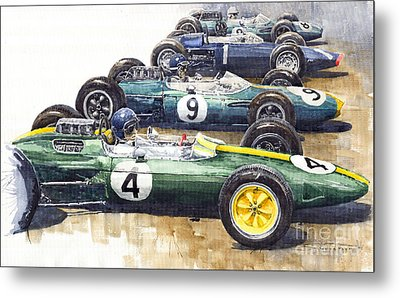 Start British Gp 1963 - Lotus  Brabham  Brm  Brabham Metal Print by Yuriy  Shevchuk