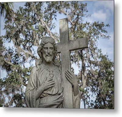 Statue Of Jesus And Cross Metal Print by Kim Hojnacki
