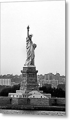 Metal Print featuring the photograph Statue Of Liberty Black And White by Kristin Elmquist