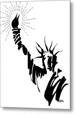 Statue Of Liberty Metal Print by Farah Faizal