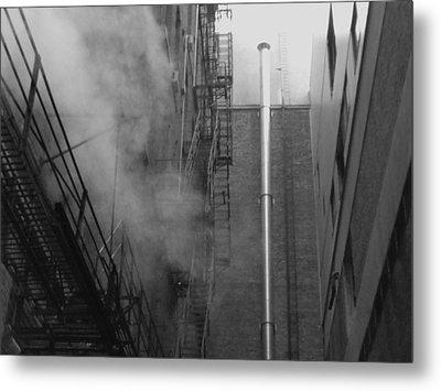 Steam In The Alley 4 Metal Print by Anna Villarreal Garbis