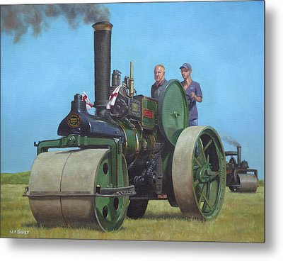 Steam Roller Traction Engine Metal Print by Martin Davey