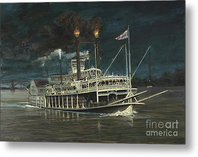 Steamboat On Mississippi Metal Print by Don Langeneckert