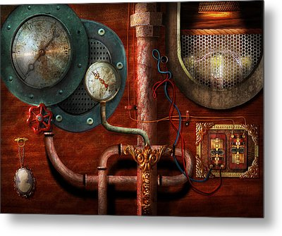 Steampunk - Controls Metal Print by Mike Savad