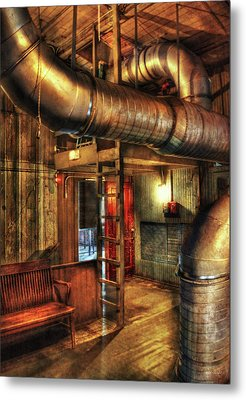 Steampunk - Where The Pipes Go Metal Print by Mike Savad