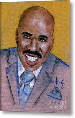 Metal Print featuring the drawing Steve Harvey by P J Lewis