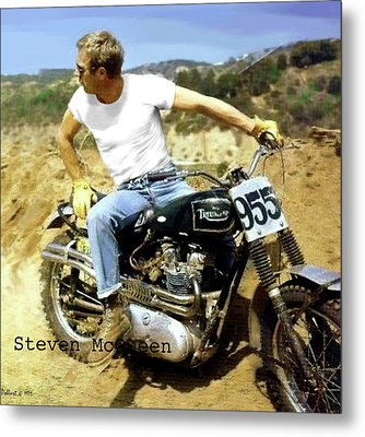Steve Mcqueen Painting Triumph Motorcycle On Any Sunday Metal Print