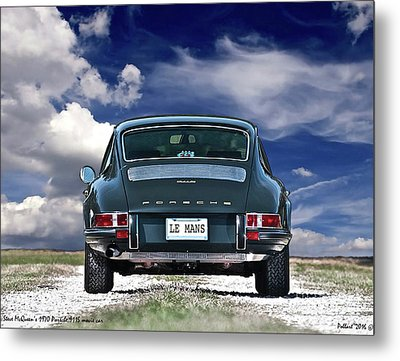 Steve Mcqueen's 1970 Porsche 911s From Opening Scene Of The Movie Le Mans Metal Print by Thomas Pollart