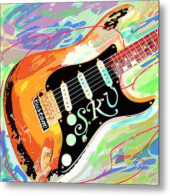 Stevie Ray Vaughan Stratocaster Metal Print by David Lloyd Glover
