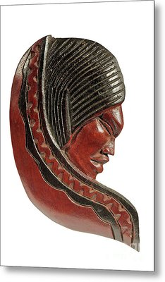 Still Life Of Brazilian Female Mask In Carved Wood Metal Print by Marco Gallarino