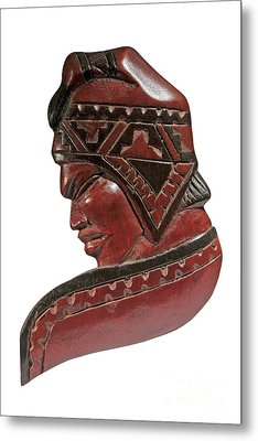 Still Life Of Brazilian Male Mask In Carved Wood Metal Print by Marco Gallarino