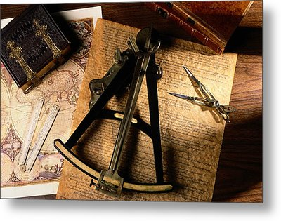 Still Life Of Charts, Books Metal Print by Todd Gipstein