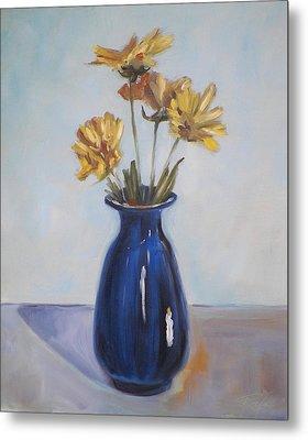 Still Life Of Flowers In Blue Vase Metal Print