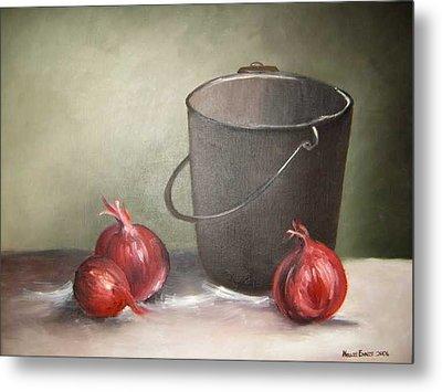 Still Life Onions Metal Print by Nellie Visser
