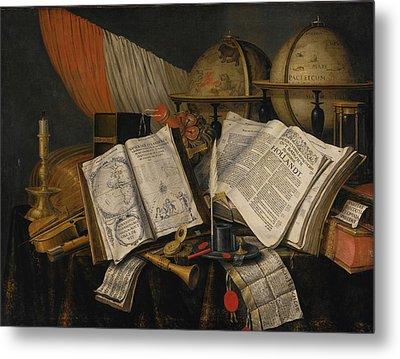Still Life With A Candlestick Metal Print by Edwaert Collier