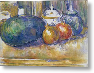 Still Life With A Watermelon And Pomegranates Metal Print