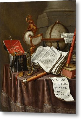 Still Life With Books Metal Print by Edwaert Collier