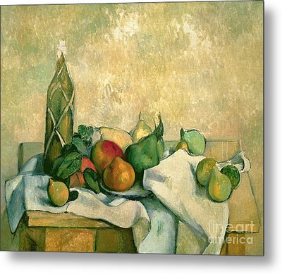 Still Life With Bottle Of Liqueur Metal Print by Paul Cezanne
