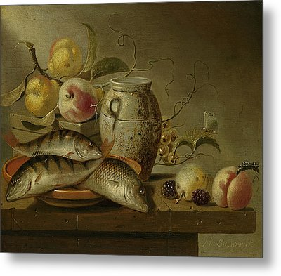 Still Life With Clay Jug, Fish And Fruits Metal Print by Harmen Steenwijck