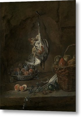 Still Life With Dead Pheasant Metal Print by Jean-Baptiste-Simeon Chardin