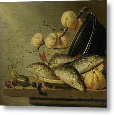 Still Life With Fish And Fruits Metal Print by Harmen Steenwijck