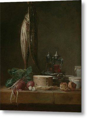 Still Life With Fish, Vegetables, Gougeres, Pots, And Cruets On A Table  Metal Print by Jean-Baptiste-Simeon Chardin