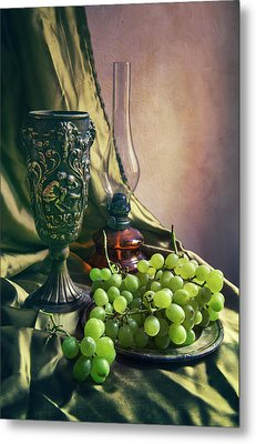 Metal Print featuring the photograph Still Life With Green Grapes by Jaroslaw Blaminsky