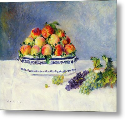 Still Life With Peaches And Grapes                               Metal Print