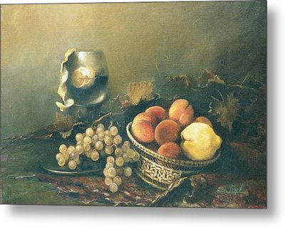 Still-life With Peaches Metal Print by Tigran Ghulyan