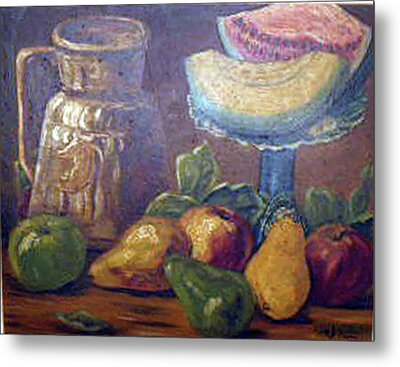 Still Life With Pears And Melons Metal Print by Hilda Schreiber