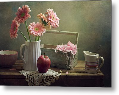 Still Life With Pink Gerberas And Red Apple Metal Print by Copyright Anna Nemoy(Xaomena)