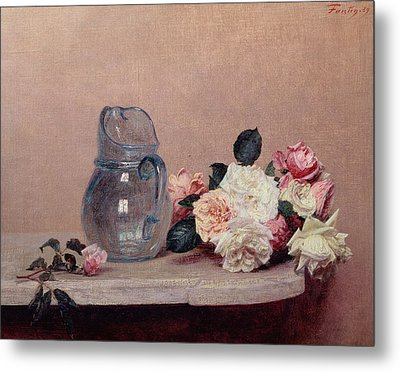 Still Life With Roses Metal Print by Ignace Henri Jean Fantin-Latour
