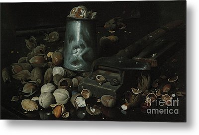Still Life With Tin Can And Nuts Metal Print by Joseph Decker