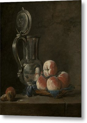 Still Life With Tin Pitcher And Peaches  Metal Print