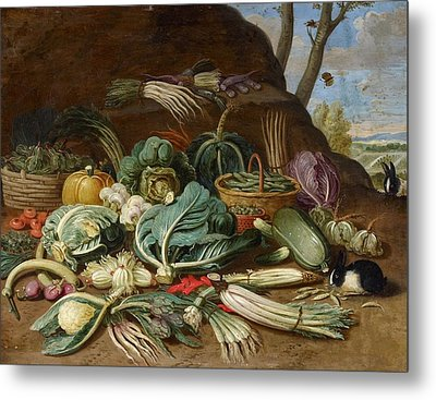 Still Life With Vegetables And A Rabbit Still Life With Fish Metal Print