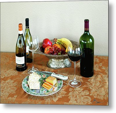 Still Life With Wine And Fruit Cheese Picture Interior Design Decor Metal Print by John Samsen