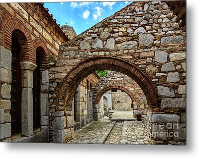 Stone Arches And Walkway At Monastery Of Hosios Loukas In Greece Metal Print by Global Light Photography - Nicole Leffer