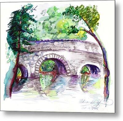 Stone Bridge In Early Autumn Metal Print by Melinda Dare Benfield