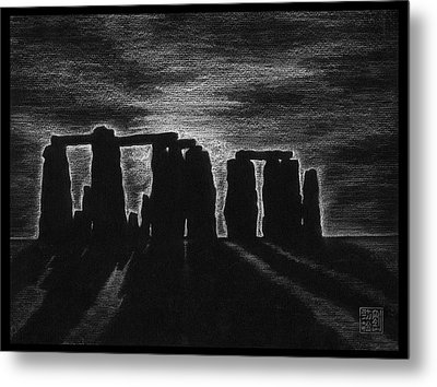 Stonehenge In Black And White Metal Print