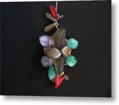 Stones And Leaves Metal Print by Judith Z Miller