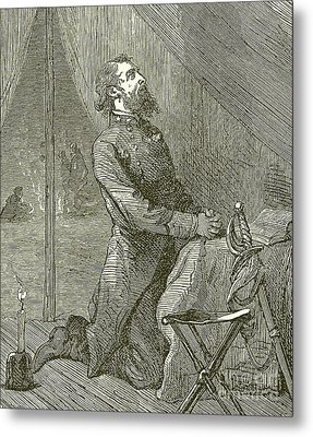 Stonewall Jackson Praying Before The Battle Metal Print by English School