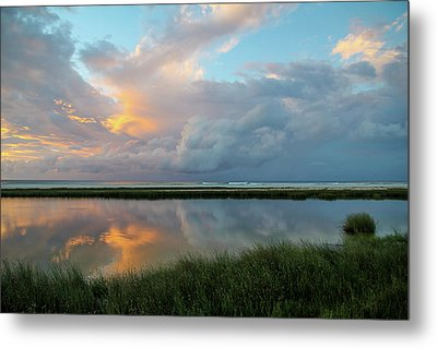 Storm Cloud Reflections At Sunset Metal Print