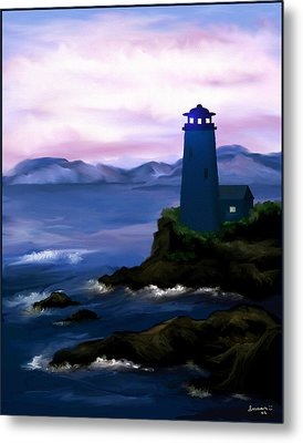 Metal Print featuring the painting Stormy Blue Night by Susan Kinney